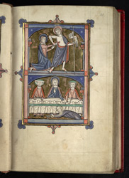 The Incredulity of Thomas, And Mary Magdalene Wiping Christ's Feet, In 'The Grandisson Psalter'